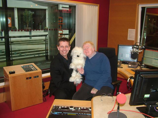 Mark & Spike The Dog meeting Vic Minett at BBC Coventry & Warwickshire